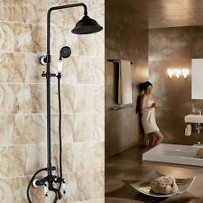 "Oil Rubbed Bronze Bath 8"" Rain Shower Faucet Set Tub Mixer Tap with Hand Spray"