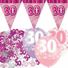 Pink Silver Girl Glitz 30th Birthday Flag Banner Party Decoration Pack Kit Set