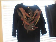 Vintage Leather Tunic Appliqued with Bugle Beads Game of Thrones Vikings Look