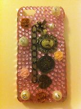 NEW iPhone 5 & 5s Case/Cover, 3D Vintage Bronze Chain,Lady Icon,Pearls,Pink Gems