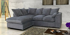 Jumbo Cord Corner Sofa In Grey or Brown, a Footstool or 2+3 Seater, Swivel