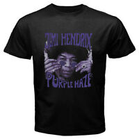 New Jimi Hendrix *Purple Haze Rock Guitarist Men's Black T-Shirt Size S to 3XL