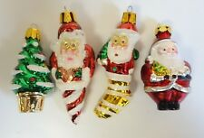 Glass Christmas Tree Miniature Ornament Lot of 4 Santa Claus And Tree Figures