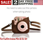 For Fujifilm Instax Mini 9 8 8 Brown Compact Storage Case With Strap Vintage PU