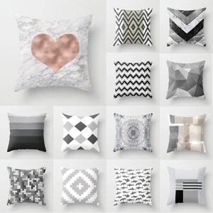 "18"" Grey Abstract Geometric Pillow Case Soft Throw Cushion Cover Sofa Home Decor"