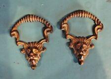 Paire Ancien Ornement poignée tête de Lion Bronze laiton doré meuble vintage
