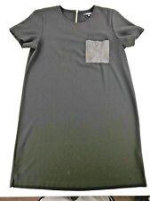 MADEWELL LEATHER POCKET ZIPPER BACK DRESS BLACK MEDIUM