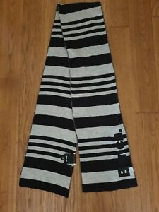 Used Bench Long Black & Grey Striped Scarf Some Bobbling 5ft or 150cm Long