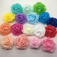 50Pcs Foam Artificial Flowers Fake Rose Heads Wedding Bouquet Party Decor DIY