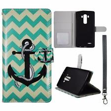 For LG G4 Us991 Wallet Aqua Chevron Anchor Cover Uni Case Split