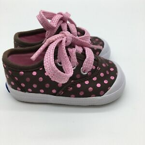 KEDS Baby Girl Brown Pink Polka Dot Sneakers Size 2 Lace Up Casual