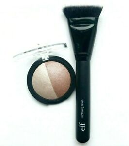 ELF Baked Highlighter & Bronzer + Contouring Brush - Compact Duo Flat Top e.l.f.