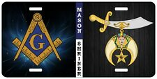 Mason Shriner Split License Plate Auto Car Emblem Tag  Masonic Shrine
