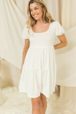 White Cottagecore Babydoll Tiered Dress