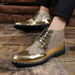 Mens Brogues Carved Lace Up Oxfords Ankle Boots Formal Sequins Party Dress Shoes