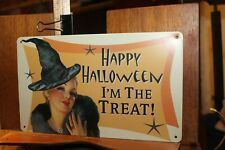 """Retro Look Halloween Tin Metal Sign Sexy Witch 10"""" x 6"""" I'm the Treat"""