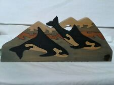 R G DESIGNS wood jigsaw  puzzle 2 orcas water mountains 1pc missing  15.5×6.5