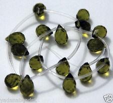18 pcs of Olive quartz glass faceted briolette bead 8x10mm