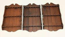 3 Vintage Wood 18 Spoon Wall Rack Souvenir Display Racks