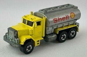 Vintage 1988 Hot Wheels WORKHORSES Peterbilt Yellow Tank Truck SHELL OIL Diecast