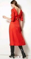 M&S SIZE 16 RED JACQUARD ANIMAL PRINT FIT AND FLARE NEW DRESS MARKS AND SPENCER
