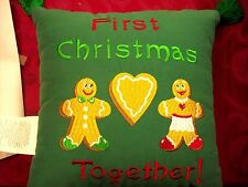 """Christmas: Pillow """"First Christmas Together"""" 11"""" x 11"""" Gingerbread Accent New!"""
