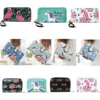 New Women Horse Leather Wallet Long Zip Purse Coin Card Phone Holder Case Bag