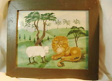 FOLKART WATERCOLOR ADELE SCHLUGE LAMB AND LION