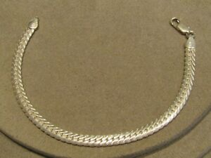 """Sterling Silver Solid Flat Chain Bracelet ISC Italy 7.75"""""""