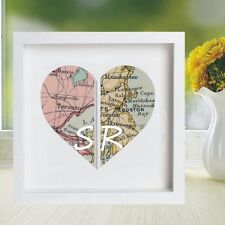 Vintage Map Framed Heart Print Displaying 2 Locations - Wedding/Anniversary Gift