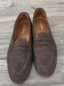 Alden for Brooks Brothers Loafers Dark Brown Suede Leather 7564 9.5 d