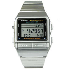 Casio Men's Silver Stainless Steel Quartz Watch Digital Data Bank Alarm DB380-1