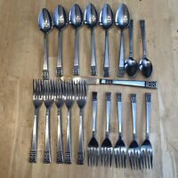 Lot Of 19 Grace stainless flatware Andante pattern Japan Spoons Forks Knives
