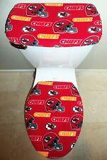 NFL KANSAS CITY CHIEFS Fleece Fabric Toilet Seat Cover Set Bathroom Accessories