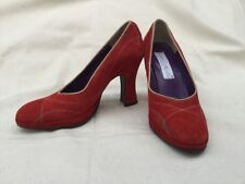 SARA GALIBERTI FIRENZE ITALY Womens Red Suede Retro Stitch Pumps Shoe EU38 US7.5