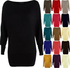 Womens Ladies Basic Batwing Long Sleeve Plain Stretch T-Shirt Top Size UK 8-26