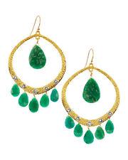 $245 Alexis Bittar Crystal Amazonite Briolette Earrings Gold Tone Green