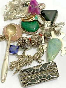 Vintage Sterling Silver 925 Jewelry Mixed Lot Stones Wear Stamped /128 Grams