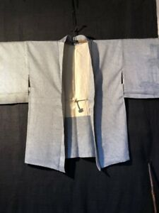 JAPAN ALT Haori Kimono Jacke Shibori Rinzu Seide blau grau mit Himo Bambus