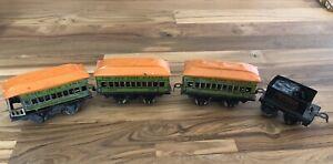 4 Vintage Marx The Joy Line Train Cars (2) Coach 357, Observation 458 & Tender