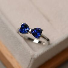 New 925 Sterling Silver Blue Sapphire Bow Shape Engagement Ring R1057Blue Sz 8
