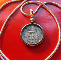 """Pre 1946 ENGLISH LUCKY SILVER SIXPENCE, 24"""" .925 2MM STERLING SILVER SNAKE CHAIN"""