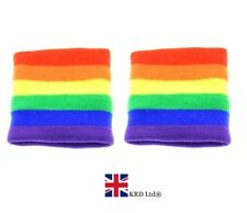 2 x RAINBOW STRIPE SWEATBANDS Wristband Adult Unisex Gay Pride Fancy Dress UK