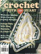 Crochet With Heart Apr 2000 Posies Afghan, Bear Hug Pillow, Sweaters & More