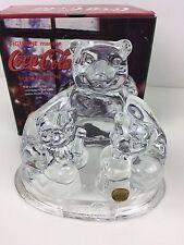 Coca Cola Polar Bear Lead Crystal Clear Glass Trio Figurine Collectible 1997