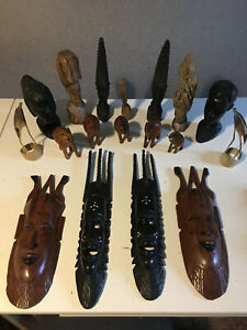 Collection of Vintage African Hand Carved Heads and Tribal Masks