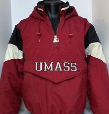 New listing Vtg 90s Umass Starter Pullover Jacket Sz M Og hooded winter coat Burgundy Black