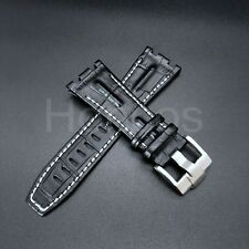 28MM LEATHER WATCH STRAP BAND FOR AP 42MM AUDEMARS PIGUET ROO BLACK WHITE STIT