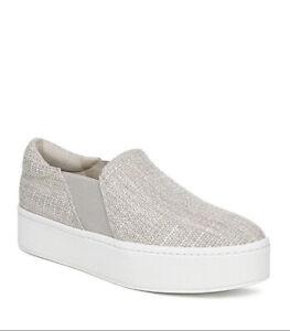 Women Vince Warren B Slip-On Platform Sneaker Textile Natural MSRP $225