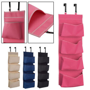 4TIER STORAGE POCKETS WARDROBE UNIT SHOES OVER THE DOOR HANGING HOOKS ORGANISER